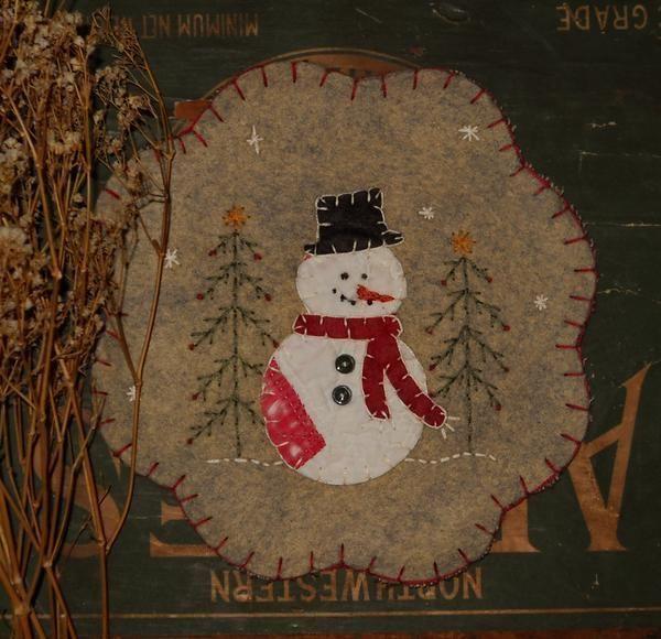 Primitive Vintage Quilt Christmas Snowman Penny Rug ~ Winter Tree Candle Mat #NaivePrimitive