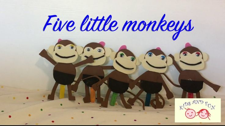 "Five little monkeys (English) Five little monkeys jumping on the bed One fell off and bumped his head so papa called the Doctor and the Doctor said ""No more monkeys jumping on the bed"" Four little monkeys jumping on the bed One fell off and bumped his head so papa called the Doctor and the Doctor said ""No more monkeys jumping on the bed"" Three little monkeys jumping on the bed One fell off and bumped his head so papa called the Doctor and the Doctor said ""No more monkeys jumping on the bed""…"