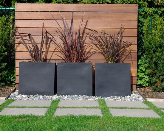 Gardens, Modern Landscape With Contemporary Garden Design Ideas With Brown Wooden Garden Screen And Black Concrete Permanent Pots And Comely Pebble Also Gray Concrete Steps And Comely Green Grass: Small Back Garden Designs and Ideas