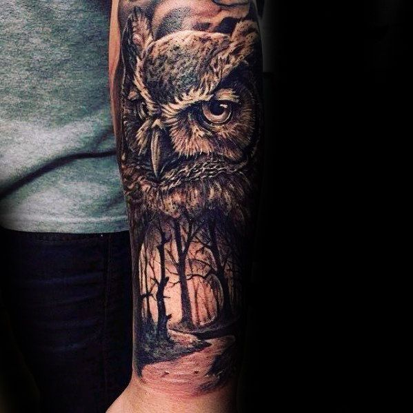 Owl With Forest Nature Scene Forearm Tattoos For Guys Owl Forearm Tattoo Forearm Tattoo Design Owl Tattoo Sleeve