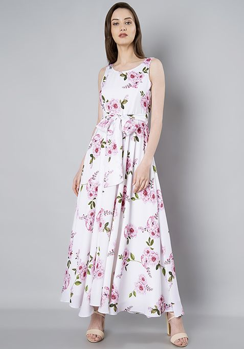 d8958afff92 White Sash Maxi Dress - Floral  Fashion  FabAlley  Love  Girls  Friend   GirlsFriend  Gift  ValentineDay  Dress  Floral  WhiteSash  MaxiDress