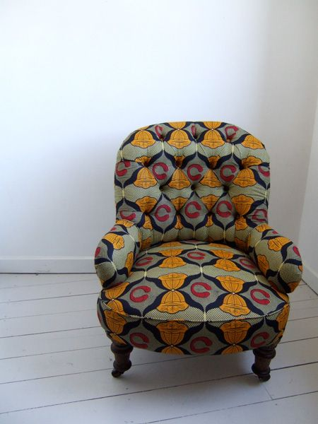Fauteuil capitonné [#pagne #wax #tissuafricain]