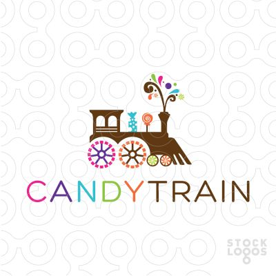 Logo For Sale: Fun, bright and bold train made with various kinds of candy and confection.