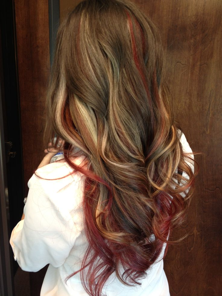 Red and blond highlights long brown hair