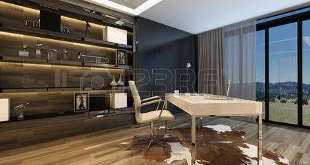 maison moderne: Intérieur élégant de bureau à domicile avec un bureau moderne donnant sur de grandes fenêtres avec vue sur la campagne et les armoires de style sur le mur, illuminé par un éclairage zénithal. Rendu 3D.