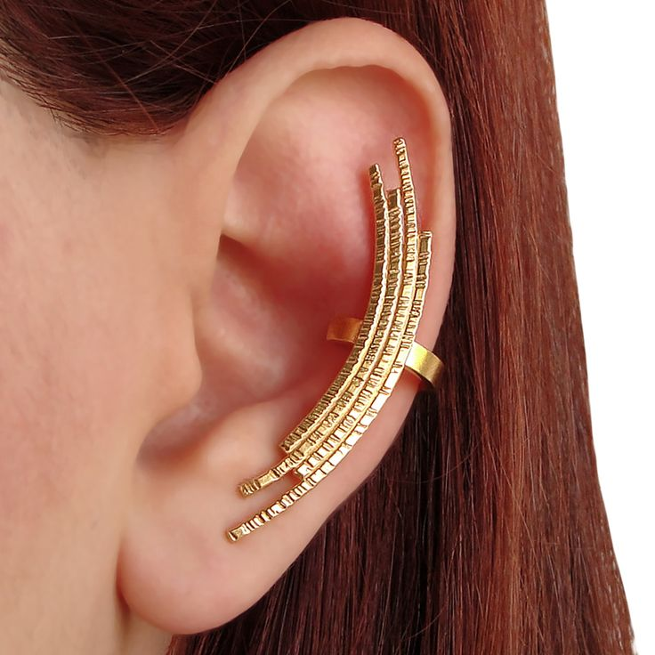 Handmade 24K gold plated 925 sterling silver ear cuff earring & ear climber