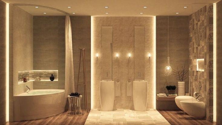 Indirekte Beleuchtung Led Luxus Badezimmer Ecke Badewanne Waschbecken Badez In 2020 Luxus Badezimmer Luxusbadezimmer Modernes Badezimmer