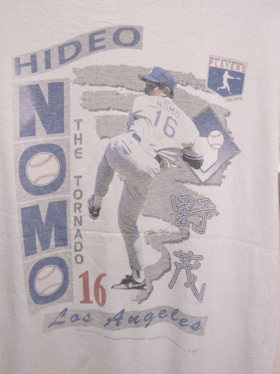 #Vintage 90's Major League #Baseball Tribute To Hideo Nomo 16  The Tornado Los Angeles #Dodgers Shirt Sport Swag Top Tee Punk Rock Surf Size L  Measurement : Armpit to armpit ... #retro #sale #vintage #preloved #preused #shirts #t-shirts #adidas #baseball #dodgers