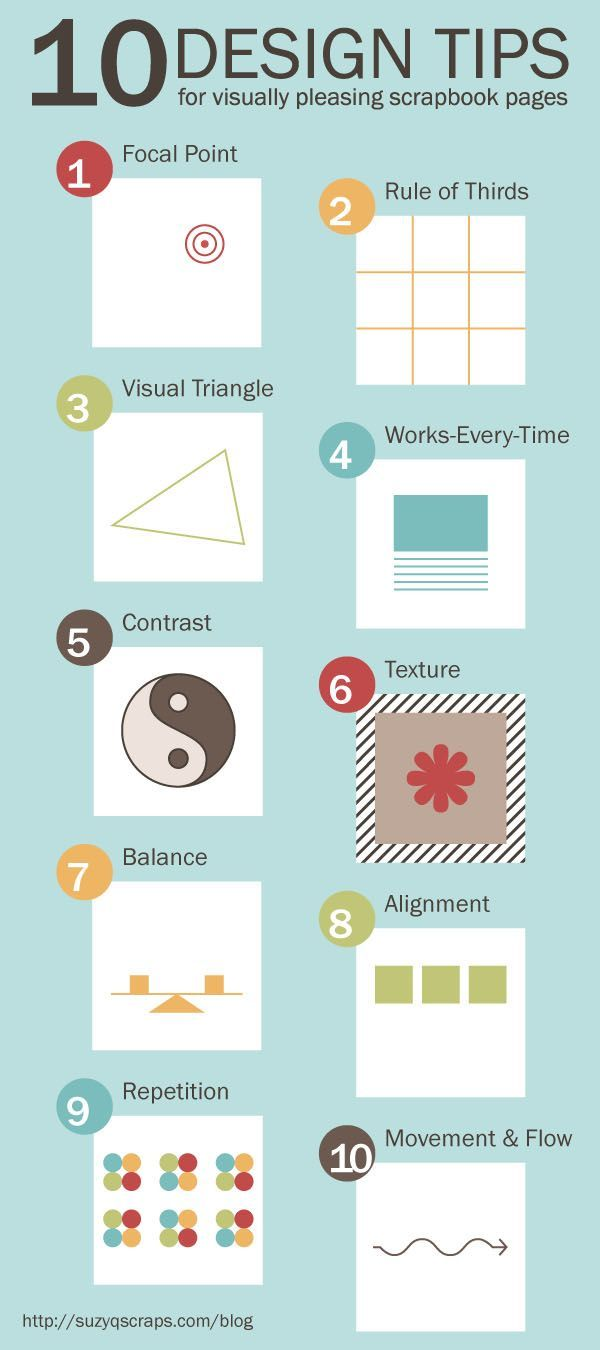 A handy visual with 10 design tips for visually pleasing scrapbook pages. Click on the image to learn more.