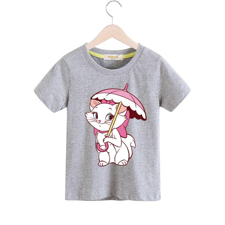 2018 Children Short Sleeves Cartoon Marie Cat Pattern T-shirt For Boy Girls 100%Cotton Tee Tops Clothes Baby T Shirts TX035 //Price: $9.95 //     #fashionkids