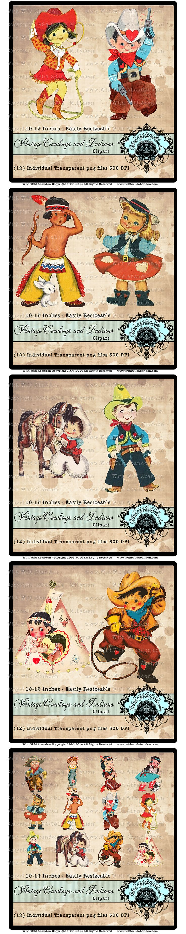 westerm clipart, rodeo clipart, vintage cowboy, indian, cowgirl, birthday party, party clipart, vintage clipart, invitations, instant download, scrapbook clipart, birthday party clipart