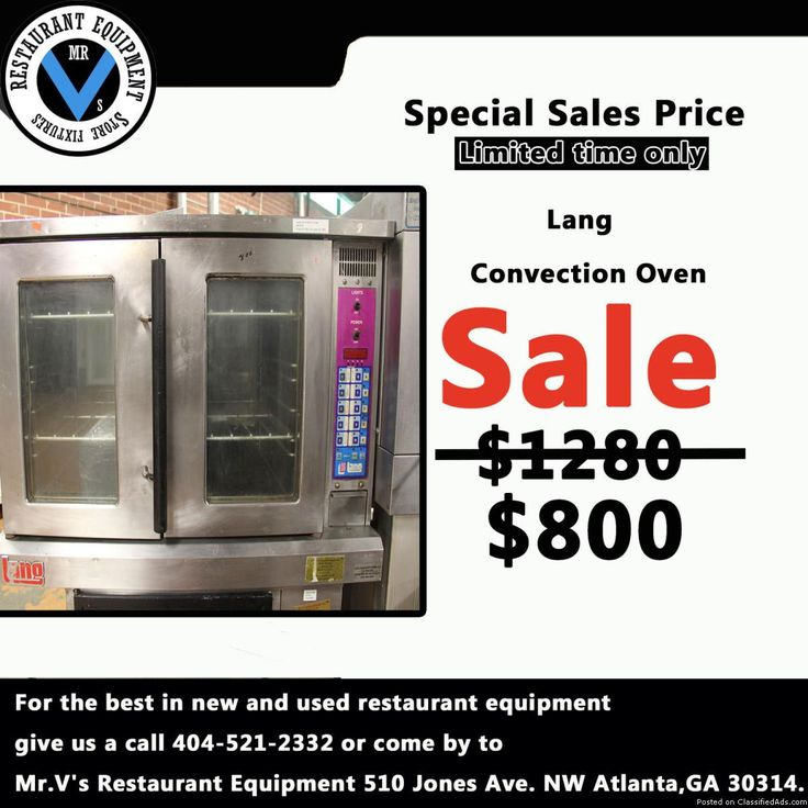 For the best in new and used restaurant equipment give us a call or come by to Mr.V's Restaurant Equipment. Big Sale on 2-Door Electric Convection Oven while in stock. So don't miss out on this great deal. For more info contact 4045212332Deep Fryers, 6 eye range, Commercial Coolers, Commercial Freezers, Sandwich Preps, Convection Oven, Restaurant Equipment, Used Restaurant Equipment, New Restaurant Equipment, Gas Grill, Griddle, Mr.V's Restaurant Equipment, Atlanta, GA