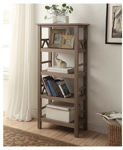 Rustic gray 4 shelf bookcase complements a farmhouse style decor.  #affiliatelink