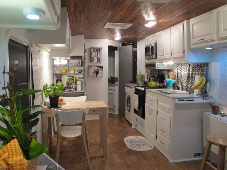 RV redo. Looks like cork flooring...Love the ceiling,looks like they used flooring for it.