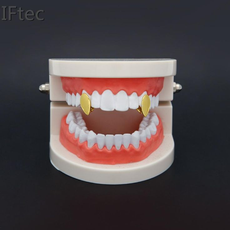 Iftec Vampire Fang Single Cap Gold Tone Canine Custom Tooth Grills Fangs Dracula Teeth Grillz Gift New Fashion Hip Hop Style