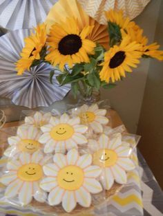 You Are My Sunshine baby shower cookies!  See more party planning ideas at CatchMyParty.com!