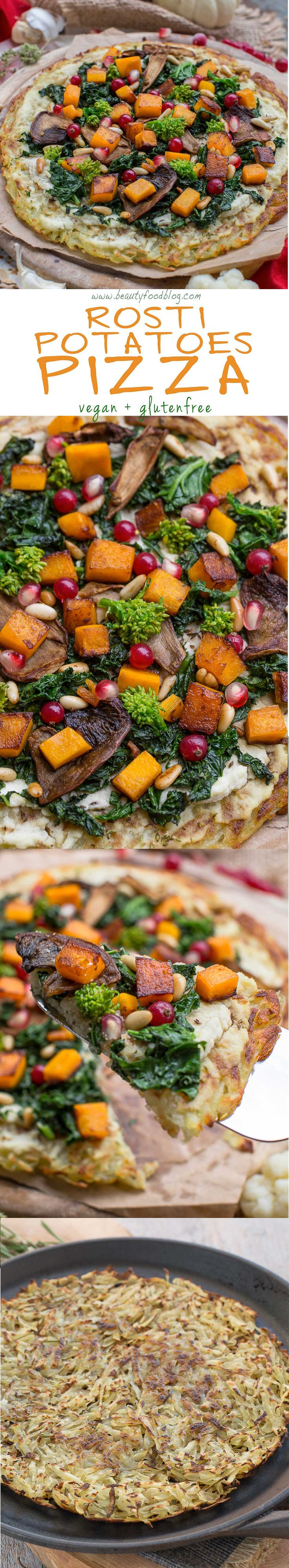 AMAZING #vegan #glutenfree ROSTI POTATOES PIZZA with kale, pumpkin, mushrooms and pomegranate #simple | Ricetta pizza Rosti di patate senza glutine vegan con kale, zucca, funghi e melagrana
