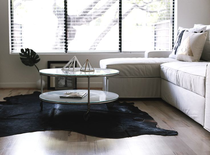 Cow skin rug, black, white