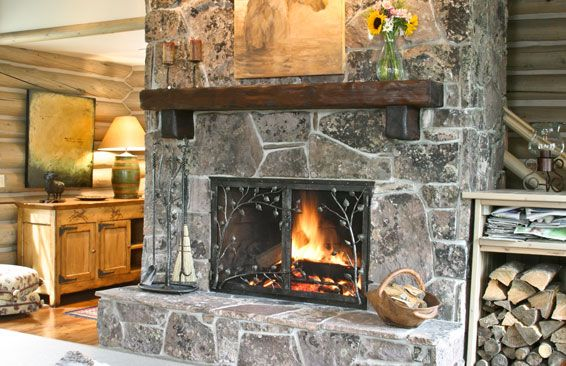 Small Custom Fireplace Screens with Doors with flagstone