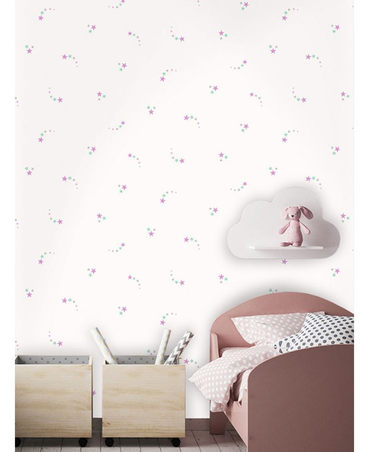 This Shooting Stars Wallpaper features clusters of stars in tones of pink, teal and grey infused with silver glitter on a matte white background. Free UK delivery available