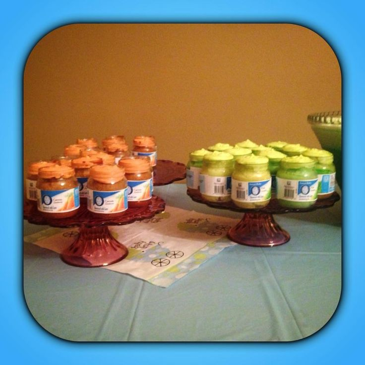 Baby food jar cakes for baby shower cakes crafts etc for Baby food jar crafts pinterest