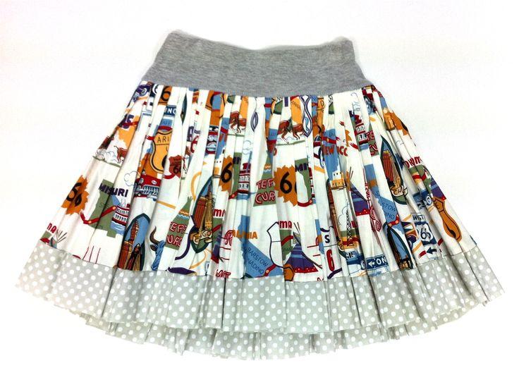 Route 66 Print Cotton Skirt w/ Cotton Trim |   KAF KIDS : 51 Mackelvie Street, Grey Lynn, Auckland. #kidsfashion  http://kafkids.co.nz/