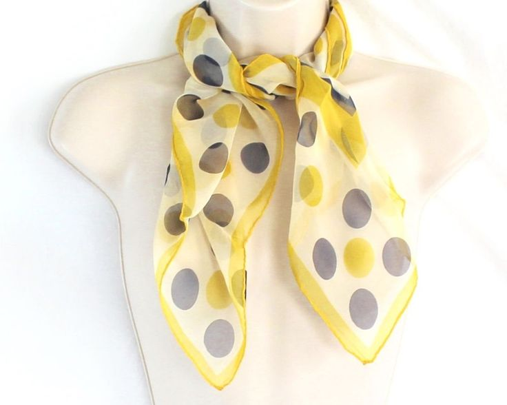 "Vintage Sheer Polka Dot Scarf Yellow Blue Head Purse Neck Square 27"" Chiffon #Unbranded #Scarf"