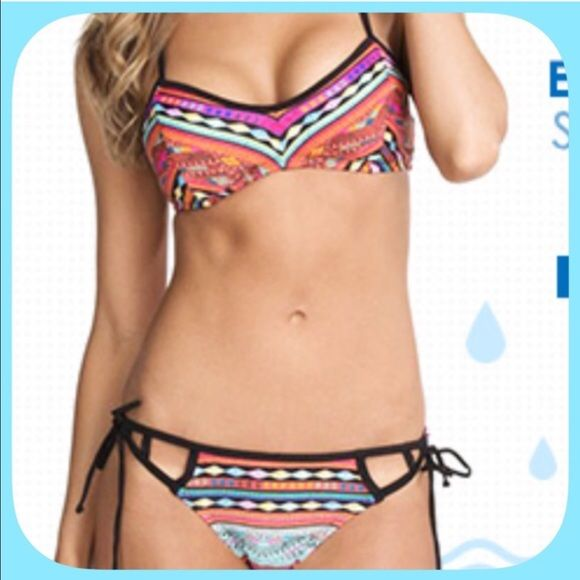 NWT Sassy Aztec Orange/Black Strappy Bikini The colors in this suit are brilliant and gorgeous! I love this and bought one for myself! The straps are very flattering! Also available in medium! Boutique Swim Bikinis