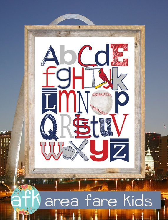 St . Louis Cardinals ABC nursery art print from Area Fare Kids Baseball Collection. ...  https://www.etsy.com/listing/109405653/st-louis-cardinals-baseball-abc-nursery