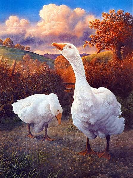 'Geese' by contemporary English artist James Lynch (1956). He became known in the 1980's and 90's for his monumental animals set in visionary landscapes. James paints using the ancient medium of egg tempera.