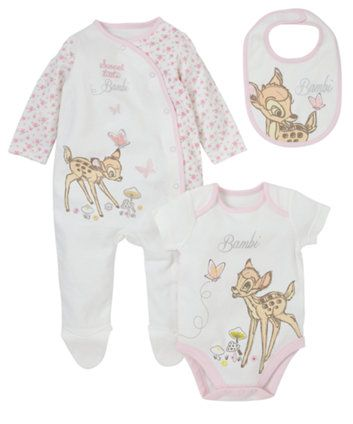 Bambi Set - 3 Piece. This adorable set includes a bambi themed sleepsuit, bodysuit and bib.
