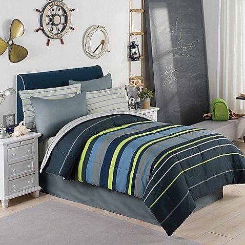 Gray, Blue & Green Boys Stripe Twin Comforter Set (6 Piece Bed In A Bag) + HOMEMADE WAX MELT Modern Living http://www.amazon.com/dp/B0164M0NYU/ref=cm_sw_r_pi_dp_HiB0wb0HW423Y