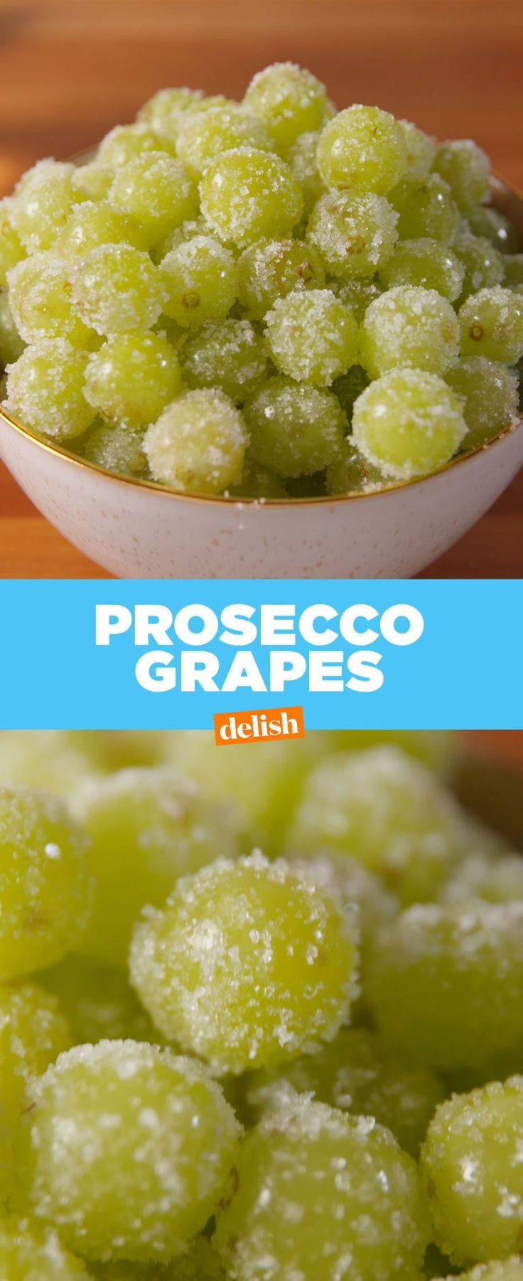 Prosecco Grapes 2 lb. green grapes 1 bottle prosecco 1/2 c. sugar In a large bowl, pour prosecco OR Gingerale OR water over grapes. Let them soak in the fridge for at least 1 hour, unless using water than can use right away.. Drain in a colander and pat dry. On a shallow plate, roll the grapes in sugar until fully coated, then serve.