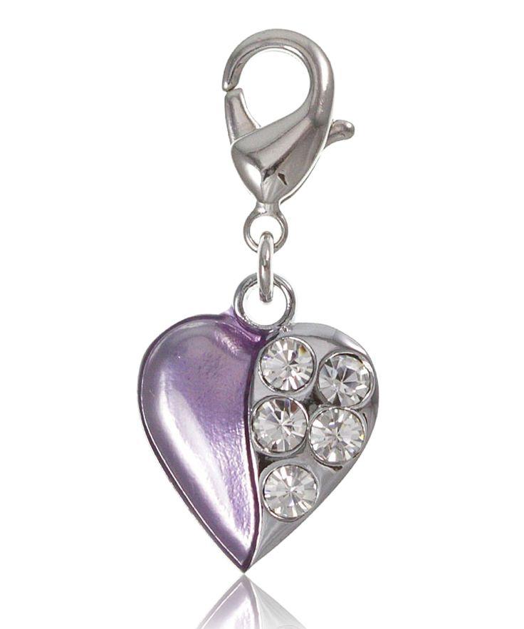 Charm cœur violet moitié strass - So Charm