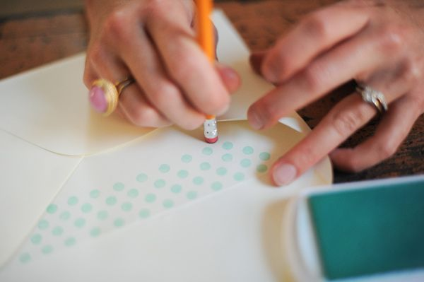 A fun and easy DIY project for your wedding invitations - DIY Polka Dot Envelope Liner via ruffledblog.com