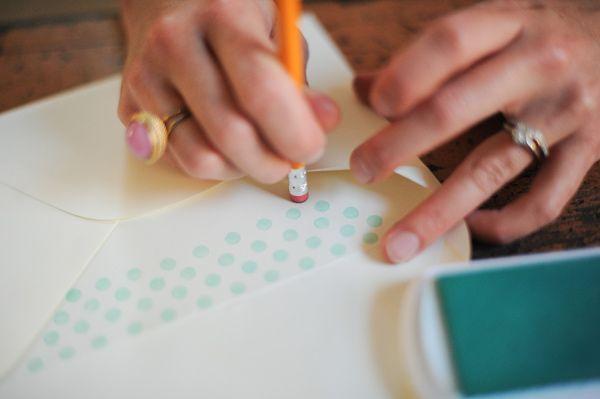A fun and easy DIY project for your wedding invitations - DIY Polka Dot Envelope Liner via ruffledblog.com