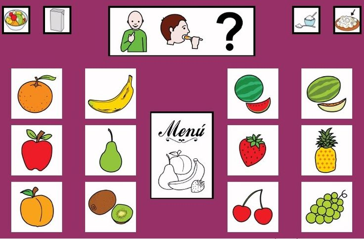 """""""Tablero de comunicación: Frutas"""". Recopilación de  diferentes tableros de comunicación de 12 casillas, organizados por necesidades básicas y centros de interés.  Los tableros pueden imprimirse tal como aparecen en los documentos o bien se puede modificar el contenido, la forma, el color, etc., para adaptarlos a las características individuales de cada usuario. Pueden utilizarse también para trabajar distintos repertorios de vocabulario agrupado por temas o categorías."""