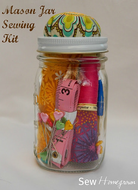 Mason Jar Sewing Kit. Great gift for students going off to college