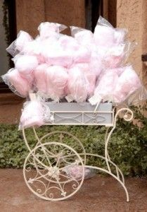 cotton candy favors in a cart for a little girls birthday party