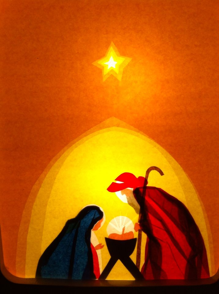 Kersttransparant in mijn lamp.