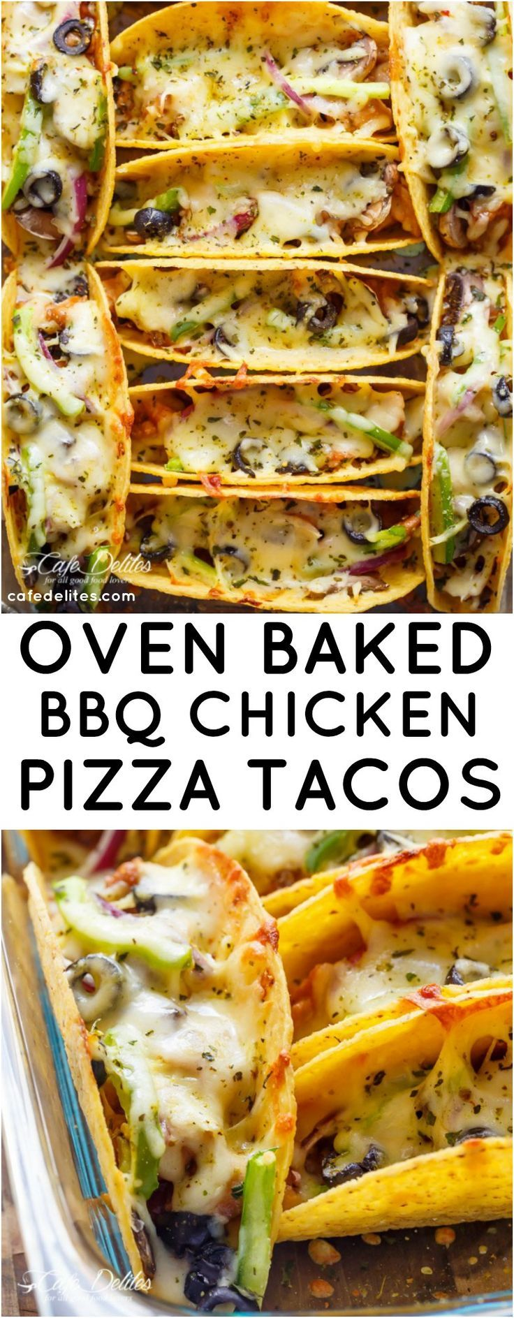 Easy Oven Baked Barbecue Chicken Pizza Tacos are full of pizza flavours, stuffed inside a crispy taco shell, to give you the BEST of both worlds | http://cafedelites.com