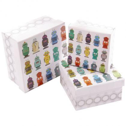 Sada 3 čtvercových krabic s motivem Robot #giftbox #giftsforhim #box #robot