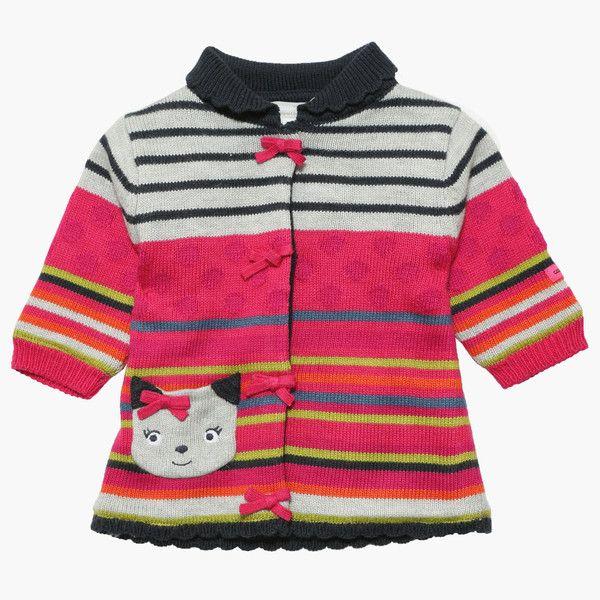 Catimini Knitted coat stripe cat