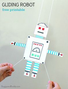 In this robot craft children will color a free printable robot and turn it into a gliding robot toy. This fun activity combines creativity with scientific thinking.