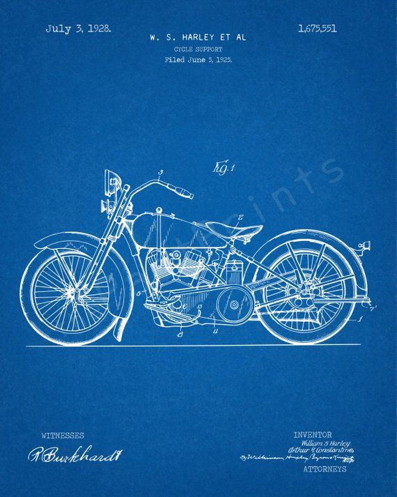59e93727 Harley Davidson 1928 Patent Print - Instant Download. Digitally Remastered.  No need to wait. Instantly download and use. Image sizes 8