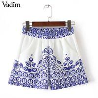 Женщины фарфор рисунок шорты эластичный пояс дамы летняя мода уличная карманы случайные шорты pantalones cortos ZC069