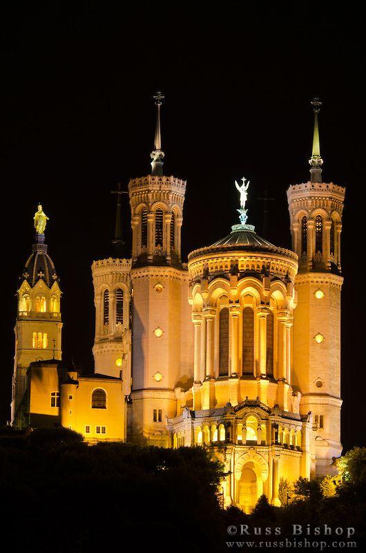 Fourvière Basilica at night, Lyon, France (UNESCO World Heritage Site)
