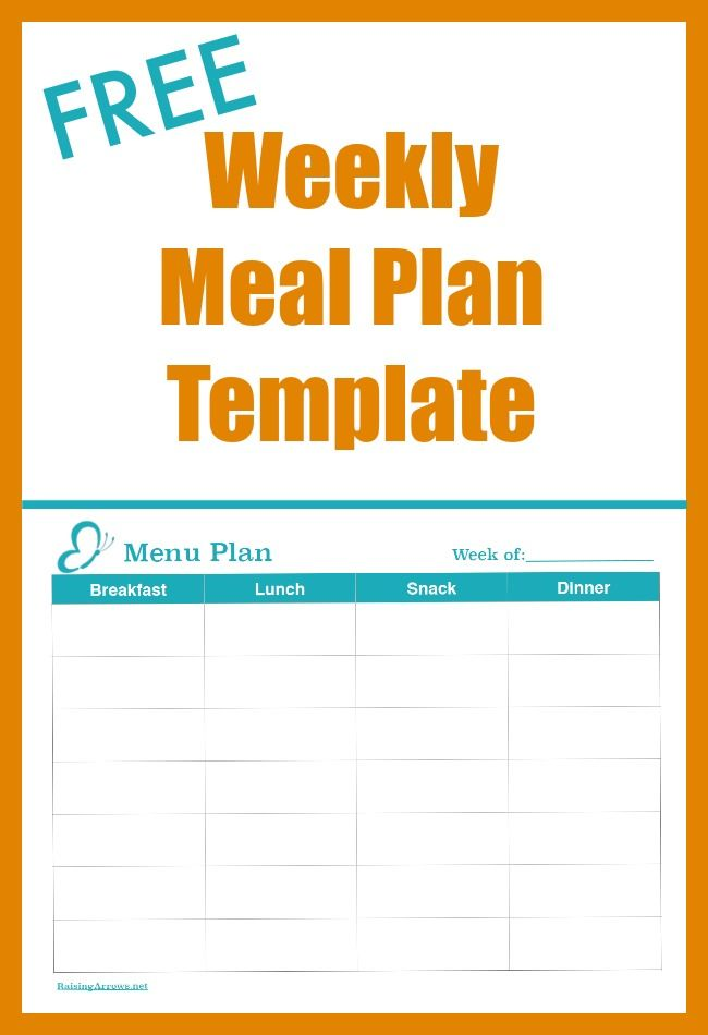 FREE Weekly Meal Plan Template Printables Pinterest Meal plan