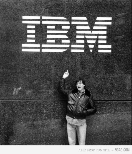 Just Steve Jobs giving his middle finger to IBM...