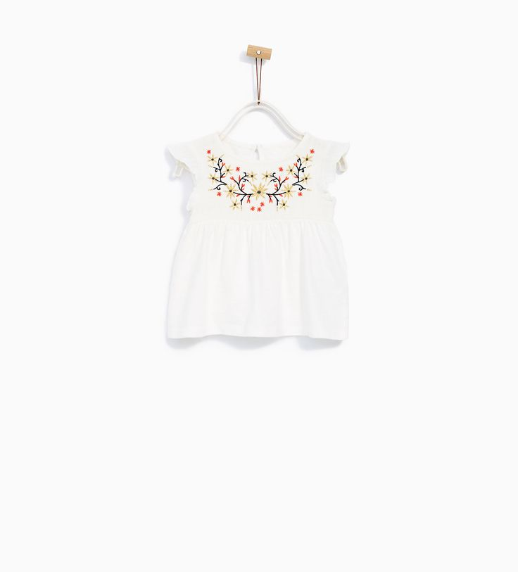 Image 1 of BLOUSE WITH EMBROIDERED BIB from Zara